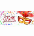 red and gold carnival mask with feathers on vector image