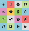 set of 16 editable heart icons includes symbols vector image