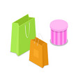 shopping bag isometric 3d icon vector image vector image