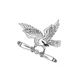 Shrike Clutching Propeller Blade Black and White vector image