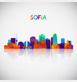 sofia skyline silhouette in colorful geometric vector image vector image