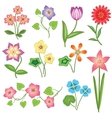 Spring flower icon set Tulip chamomile daisy vector image vector image