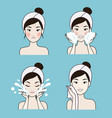 step facial cleansing beautiful woman vector image vector image