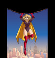 superheroine holding boulder above city vector image vector image