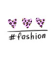 t-shirt print with tag fashion and hearts pink vector image vector image