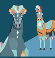 two elegant horses animals carnival circus vector image