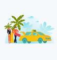 vcation couple rest tour hot trip palm sea vector image vector image