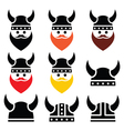 Viking warrior in helmet icons set vector image