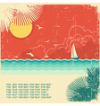 Vintage nature tropical seascape vector image vector image