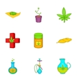 Weed icons set cartoon style vector image