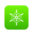 wheel of ship icon digital green vector image vector image