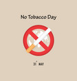world map icon and quit tobacco signmay 31st vector image