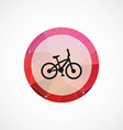 bike circle pink triangle background icon vector image