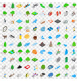 100 camping nature icons set isometric 3d style vector image vector image