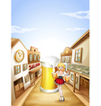 A girl holding a beer in front of a big glass of vector image vector image