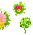 Abstract Flowers And Blot Set vector image