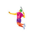 Badminton Player Jump Smash Low Polygon vector image vector image