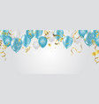 blue balloons celebration background template vector image vector image