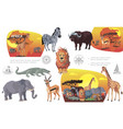 cartoon african savannah animals composition vector image vector image