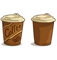 cartoon coffee cup with lid icon vector image vector image