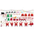 christmas big set santa claus character creation vector image vector image