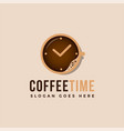 clock and cup coffee logo vector image