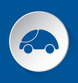 cute rounded car simple blue icon on white button vector image vector image