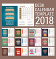 desk calendar template for 2018 year template vector image vector image