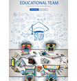 educational infograph brochure template with hand vector image vector image