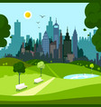 empty city park with skyscrapers on background vector image vector image