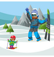 father teaching little son how to ski vector image