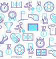 Football seamless pattern with thin line icons