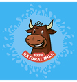 fresh natural milk emblem vector image vector image
