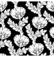 Garden flowers black and white style Seamless vector image vector image
