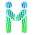 halftone blue-green persons handshake icon vector image