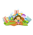 happy children riding on car in city park vector image vector image
