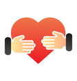 heart in hands flat icon two hands with heart vector image vector image