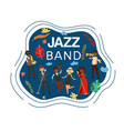 jazz band inscription composite on banner vector image vector image