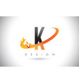 k letter logo with fire flames design and orange vector image vector image