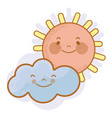 kawaii sun and cloud with cheeks and eyes vector image vector image