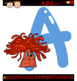 letter a for anemone cartoon vector image vector image