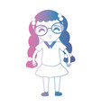 line girl with glasses and clothes design vector image vector image