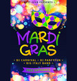 mardi gras hand drawn sign and traditional colors vector image vector image