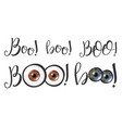 modern calligraphy of word boo and eyes vector image vector image