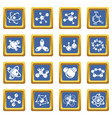 molecule icons set blue square vector image