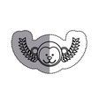 monochrome contour sticker with monkey head and vector image vector image
