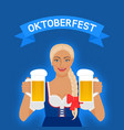 oktoberfest girl in national dress with beer vector image