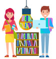 online education internet library and students vector image