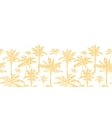 palm trees golden textile horizontal seamless vector image