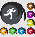 running man icon sign Symbol on eight colored vector image vector image